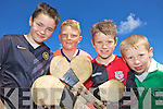 HURLEYS AT THE READY: Darragh Enright, Dillon Cotter, James Donegan and Joseph Murphy enjoying the GAA Cu?l Camp at Ballyduff GAA Grounds last Friday.