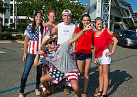 May 26, 2012:   USA fans celebrate before the start of  action between the USA and Scotland Friendly at EverBank Field in Jacksonville, Florida.............