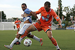 19 May 2012: Carolina's Austin King (15) and Puerto Rico's Jonathan Fana (DOM) (9). The Carolina RailHawks and the Puerto Rico Islanders played to a 1-1 tie at WakeMed Soccer Stadium in Cary, NC in a 2012 North American Soccer League (NASL) regular season game.