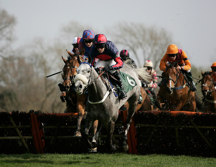 Silver Gent ridden by Nick Slatter jumps a hurdle during the 13.40 The Betfred TV Conditional Jockey's Training Series Maiden Hurdle Race (Class 5)<br /> <br /> Photo by Jack Phillips/CameraSport<br /> <br /> Horse Racing - National Hunt Racing - Uttoxeter Racecourse - Saturday 29th March 2014 - Uttoxeter<br /> <br /> &copy; CameraSport - 43 Linden Ave. Countesthorpe. Leicester. England. LE8 5PG - Tel: +44 (0) 116 277 4147 - admin@camerasport.com - www.camerasport.com