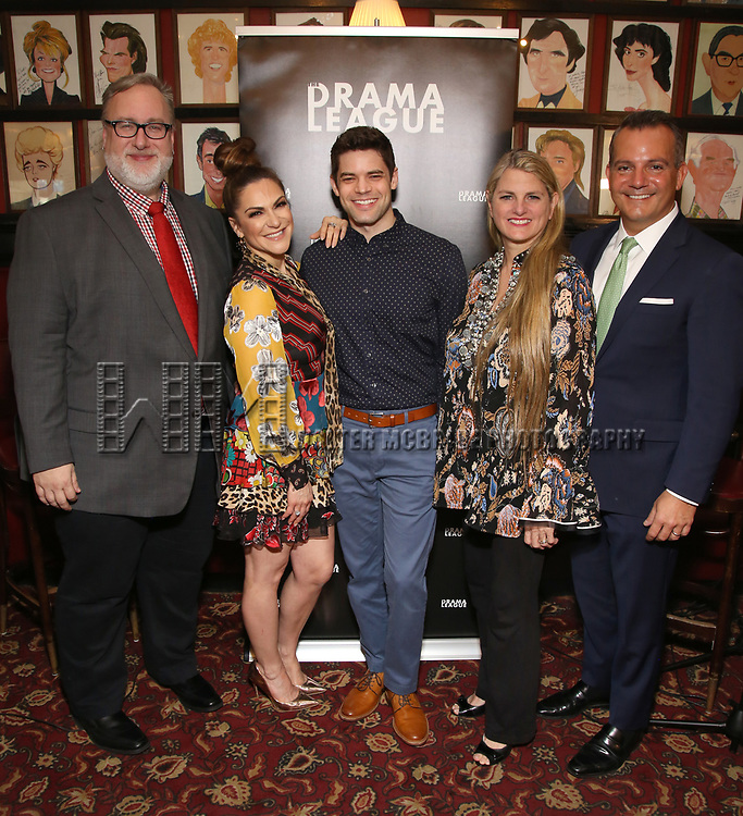 Gabriel Stelian-Shanks, Shoshana Bean, Jeremy Jordan, Bonnie Comley and Stan Ponte attends the 2019 Drama League Nominees Announcement at Sardi's on April 17, 2019 in New York City.