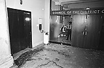 The District Council Offices on the Fifth Floor of the DistrictBuuilding in Washington, D.C. after an attack by a group of Hanafi Muslims on March 9, 1977. Photo by Jim Peppler. Copyright/Jim Peppler/1977.