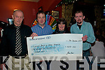 Presentation: Larry O'Connor of Jim's Bar in Duagh presenting a cheque for EUR1615.00 - the proceeds of a funraier held by the bar, to Eileen Sheehy, Listowel representing the Listowel branch of the  Kerry Hospice on Saturday night.Letf John Joe O'Brien, Larry O'Connor, Eileen Sheehy andCathal Dennehy.