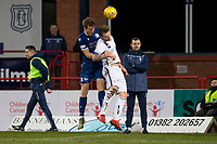 3rd March 2020; Dens Park, Dundee, Scotland; Scottish Championship Football, Dundee FC versus Alloa Athletic; Christophe Berra of Dundee competes in the air with Robert Thomson of Alloa Athletic