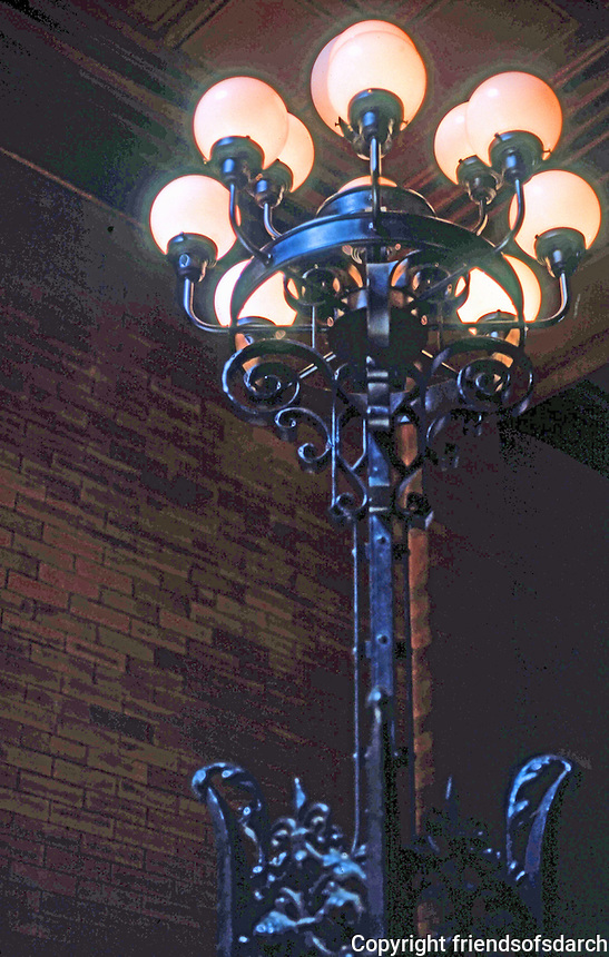 Los Angeles: Bradbury Building. Light Standard--entrance. Photo '78.