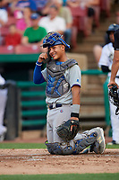 South Bend Cubs catcher Miguel Amaya (9) during a game against the Kane County Cougars on July 23, 2018 at Northwestern Medicine Field in Geneva, Illinois.  Kane County defeated South Bend 8-5.  (Mike Janes/Four Seam Images)