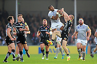 Semesa Rokoduguni of Bath Rugby claims the ball in the air. Aviva Premiership match, between Exeter Chiefs and Bath Rugby on October 30, 2016 at Sandy Park in Exeter, England. Photo by: Patrick Khachfe / Onside Images