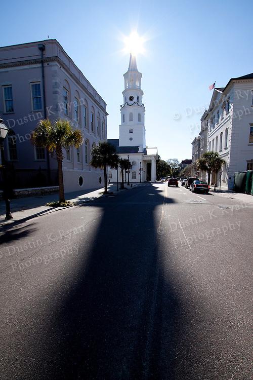 St Michaels Church Downtown Charleston South Carolina Blue Sky Sun