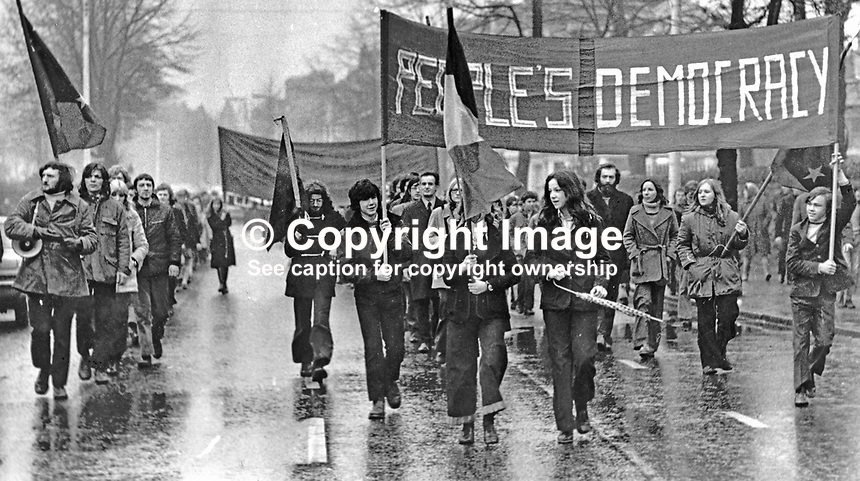 People's Democracy march sets off 19th November 1972 from the Whiterock Road in West Belfast with the intention of marching to the City Centre. However police and soldiers enforced a N Ireland Government ban on the parade reaching the city centre. This resulted in scuffles, one arrest and one rubber bullet being fired. On extreme left is Micheal Farrell, leader. 197211190436<br /> <br /> Copyright Image from Victor Patterson, 54 Dorchester Park, Belfast, UK, BT9 6RJ<br /> <br /> t: +44 28 90661296<br /> m: +44 7802 353836<br /> vm: +44 20 88167153<br /> e1: victorpatterson@me.com<br /> e2: victorpatterson@gmail.com<br /> <br /> For my Terms and Conditions of Use go to www.victorpatterson.com<br /> IMPORTANT: If you wish to use this image or any other of my images please go to www.victorpatterson.com and click on the Terms &amp; Conditions. Then contact me by email or phone with the reference number(s) of the image(s) concerned.