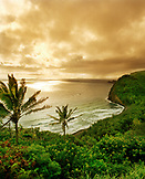 USA, Hawaii, The Big Island, Pololu Valley Lookout, scenic view of an island against cloudy sky