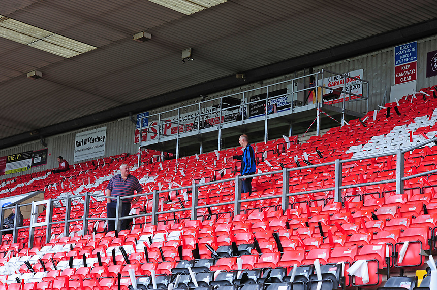 A general view of Sincil Bank, home of Lincoln City FC<br /> <br /> Photographer Andrew Vaughan/CameraSport<br /> <br /> The EFL Sky Bet League Two - Lincoln City v Morecambe - Saturday August 12th 2017 - Sincil Bank - Lincoln<br /> <br /> World Copyright &copy; 2017 CameraSport. All rights reserved. 43 Linden Ave. Countesthorpe. Leicester. England. LE8 5PG - Tel: +44 (0) 116 277 4147 - admin@camerasport.com - www.camerasport.com