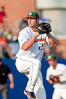 June 12, 2010:   Miami Pitcher Chris Hernandez (27) pitches  during the first inning of game two of NCAA Gainesville Super Regional action between the University of Florida Gators and Miami Hurricanes at Alfred A. McKethan Stadium on the campus of University of Florida in Gainesville.   Florida defeated Miami in 10 innings 4-3 to advance to the College World Series in Omaha, Nebraska...........