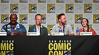 SAN DIEGO COMIC-CON© 2019:  L-R: 20th Century Fox Television's AMERICAN DAD Cast Members Kevin Michael Richardson, Dee Bradley Baker, Scott Grimes and Rachael MacFarlane during the AMERICAN DAD panel on Saturday, July 20 at the SAN DIEGO COMIC-CON© 2019. CR: Frank Micelotta/20th Century Fox Television