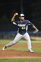 Vermont Lake Monsters pitcher Fernand Cruzado (43) delivers a pitch during a game against the Jamestown Jammers on July 12, 2014 at Russell Diethrick Park in Jamestown, New York.  Jamestown defeated Vermont 3-2.  (Mike Janes/Four Seam Images)