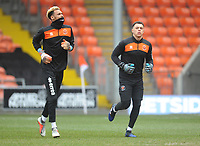 Blackpool's Christoffer Mafoumbi (left) and Myles Boney during the pre-match warm-up <br /> <br /> Photographer Kevin Barnes/CameraSport<br /> <br /> The EFL Sky Bet League One - Blackpool v Plymouth Argyle - Saturday 30th March 2019 - Bloomfield Road - Blackpool<br /> <br /> World Copyright © 2019 CameraSport. All rights reserved. 43 Linden Ave. Countesthorpe. Leicester. England. LE8 5PG - Tel: +44 (0) 116 277 4147 - admin@camerasport.com - www.camerasport.com