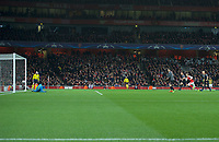 Robert Lewandowski of Bayern Munich scores from the penalty spot to make it 1-1- on the night during the UEFA Champions League round of 16 match between Arsenal and Bayern Munich at the Emirates Stadium, London, England on 7 March 2017. Photo by Alan  Stanford / PRiME Media Images.