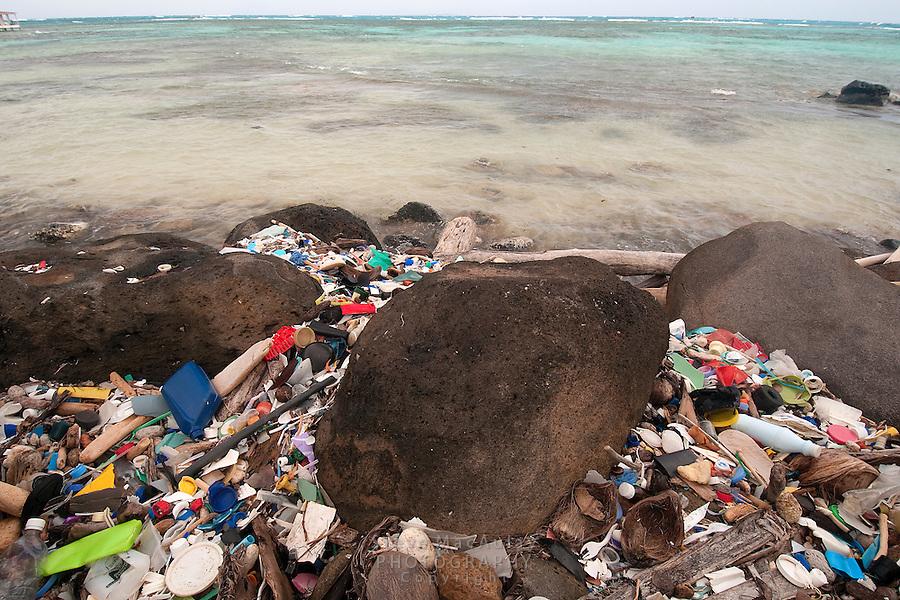 Plastic garbage flotsam discarded junk, Big Corn Island, Nicaragua