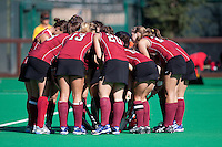 STANFORD, CA - November 4, 2011: Team Huddle during the Stanford vs. Davidson in the second round of  the  NorPac Championship at the Varsity Turf on the Stanford campus Friday afternoon.<br /> <br /> Stanford defeated Davidson 7-2.