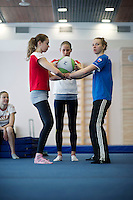 Russia Synchronized Swimming Olympic Team 2012..From L to R, training for acrobatic lifts..PATSKEVICH Alexandra (sitting)(04/11/1988) - group, combi..Two-time European champion, five-time World champion, multiple winner of the  European Cup and World Cup events,  first coach J.Kesherova&O.Dmitrieva, personal coach E.Grysynova&V.Teplyakova, in team since 2003, started synchro at the age of 6....KOROBOVA Daria (02/02/1989) - group, combi..Two-time European champion, five-time World champion, multiple winner of  the European Cup and World Cup events,  first coach S. Lesnokova, personal coach M. Terekhova, V.Teplyakova, in team since 2005, started synchro at the age of 7....SHISHKINA Alla (02/08/1989) - group, combi..Two-time European champion, five-time World champion, multiple winner of the European Cup and World Cup events ,  first coach N.Kapkova, personal coach T.Pokrovaskaya& N.Chizova, in team since 2006, started synchro at the age of 7....TIMANINA Angelica (26/04/1989) - group, combi..Two-time European Champion, five-time World champion, multiple winner of the European Cup and World Cup events,  first coach L.Kapustina,  personal coach T.Pokrovaskaya& E.Piskareva, in team since 2006, started synchro at the age of 6..Russian Team palmares: ..Olympic Games: (synchro at the Olympics since 1984)..Gold: 2000, 2004, 2008 ..World Championships..Gold 1999,2001,2003,2005,2007,2009,2011..European Championships: ..Gold; 1991,1993,1995,1997,1997,1999,2000,2002,2004,2006,2010..World Cup: Gold 2002, 2006,..Photo G.Scala/Deepbluemedia.eu..