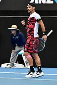 11th January 2018, Sydney Olympic Park Tennis Centre, Sydney, Australia; Sydney International Tennis,quarter final; Fabio Fognini (ITA) celebrates taking a lead in his match against Adrian Mannarino (ITA)