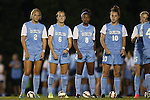 22 August 2014: North Carolina's Emily Bruder (2), Summer Green (6), Amber Munerlyn (8), and Joanna Boyles (10). The University of North Carolina Tar Heels hosted the Stanford University Cardinal at Fetzer Field in Chapel Hill, NC in a 2014 NCAA Division I Women's Soccer match. Stanford won the game 1-0 in sudden death overtime.