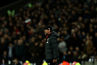 29th January 2020; London Stadium, London, England; English Premier League Football, West Ham United versus Liverpool; Liverpool Manager Jurgen Klopp shouts at his team
