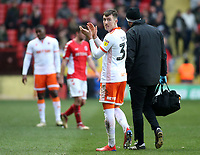Blackpool's Chris Long applauds the fans as he goes off injured<br /> <br /> Photographer David Shipman/CameraSport<br /> <br /> The EFL Sky Bet League One - Charlton Athletic v Blackpool - Saturday 16th February 2019 - The Valley - London<br /> <br /> World Copyright © 2019 CameraSport. All rights reserved. 43 Linden Ave. Countesthorpe. Leicester. England. LE8 5PG - Tel: +44 (0) 116 277 4147 - admin@camerasport.com - www.camerasport.com