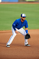 Dunedin Blue Jays third baseman Mike Reeves (7) during a game against the Bradenton Marauders on July 17, 2017 at Florida Auto Exchange Stadium in Dunedin, Florida.  Bradenton defeated Dunedin 7-5.  (Mike Janes/Four Seam Images)