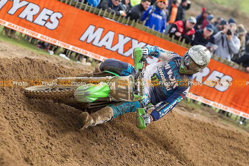 Tommy Searle, Monster Energy DRT Kawasaki raced to victory over defending champion Sean Simpson in the opening race during Maxxis ACU British Motocross at Cadders Hill MX Circuit, Lyng on 20th March 2016