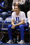 07 January 2016: Having suffered a season ending injury, Duke's Haley Gorecki cheers her teammates on from the bench. The Duke University Blue Devils hosted the Wake Forest University Demon Deacons at Cameron Indoor Stadium in Durham, North Carolina in a 2015-16 NCAA Division I Women's Basketball game. Duke won the game 95-68.