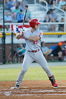 Greeneville Reds catcher Rob Boselli (47) at bat during a game against the Burlington Royals at the Burlington Athletic Complex on July 7, 2018 in Burlington, North Carolina. Burlington defeated Greeneville 2-1. (Robert Gurganus/Four Seam Images)