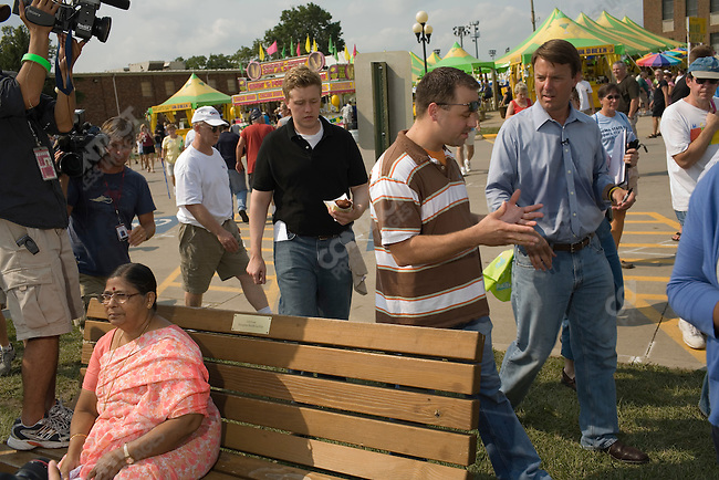 Former Senator John Edwards (D-North Carolina), potential Democratic presidential candidate,  campaigns at the Iowa State Fair. Des Moines, Iowa, August 16, 2007.