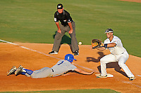 5 May 2012:  FIU's Mike Martinez (40) waits for the pickoff attempt as MTSU's Ryan Stephens (1) dives back to first base as the FIU Golden Panthers defeated the Middle Tennessee State University Blue Raiders, 12-6, at University Park Stadium in Miami, Florida.  With his first inning single, Martinez became FIU's all-time hit leader.
