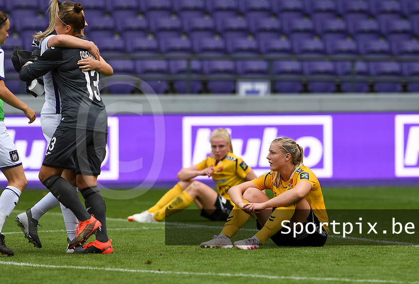 20190810 - ANDERLECHT, BELGIUM : LSK's Sophie Haug (r) pictured looking dejected and disappointed after losing the female soccer game between the Belgian RSCA Ladies – Royal Sporting Club Anderlecht Dames  and the Norwegian LSK Kvinner Fotballklubb ladies , the second game for both teams in the Uefa Womens Champions League Qualifying round in group 8 , saturday 10 th August 2019 at the Lotto Park Stadium in Anderlecht  , Belgium  .  PHOTO SPORTPIX.BE for NTB NO | DAVID CATRY