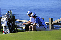 Shane Lowry (IRL) and caddy Dermot Byrne relax at the 7th tee at Pebble Beach course during Friday's Round 2 of the 2018 AT&amp;T Pebble Beach Pro-Am, held over 3 courses Pebble Beach, Spyglass Hill and Monterey, California, USA. 9th February 2018.<br /> Picture: Eoin Clarke | Golffile<br /> <br /> <br /> All photos usage must carry mandatory copyright credit (&copy; Golffile | Eoin Clarke)