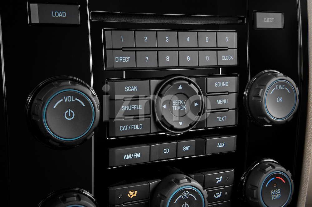 Stereo audio system close up detail view of a 2009 Mazda Tribute Hybrid