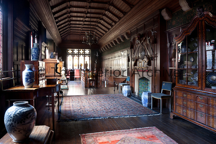 The New Gallery, resembling the structure of a traditional Tudor long gallery, was created in the 1860s. It still contains the family rocking horse