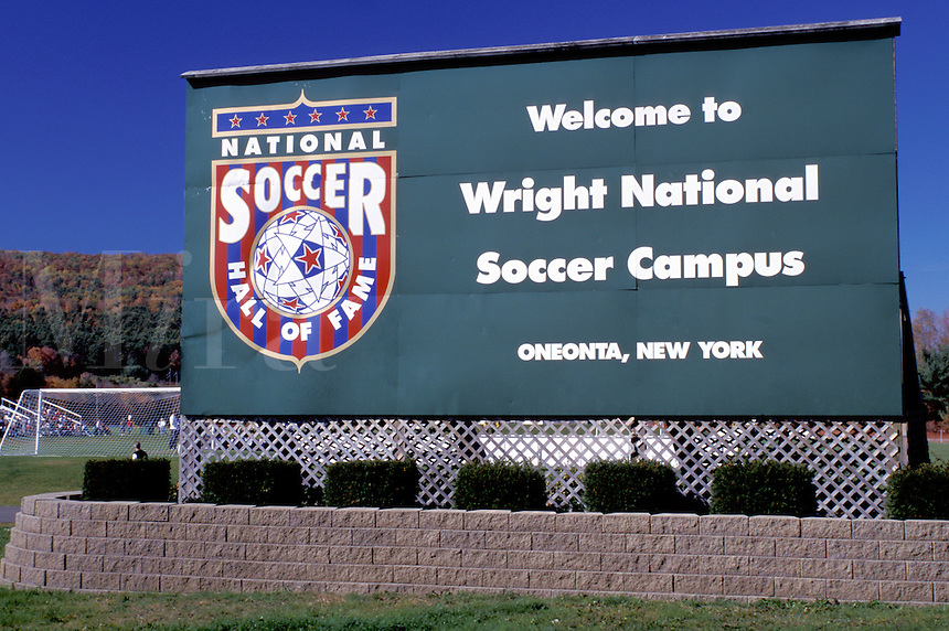 soccer, hall of fame, Oneonta, New York, NY, Wright National Soccer Campus, sign, National Soccer Hall of Fame