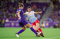 Orlando, FL - Saturday August 05, 2017: Maddy Evans, Taylor Comeau during a regular season National Women's Soccer League (NWSL) match between the Orlando Pride and the Chicago Red Stars at Orlando City Stadium.