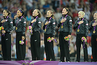 London, England - Thursday, August 9, 2012: The USA defeated Japan 2-1 to win the London 2012 Olympic gold medal at Wembley Stadium. The USA sings the national anthem. .