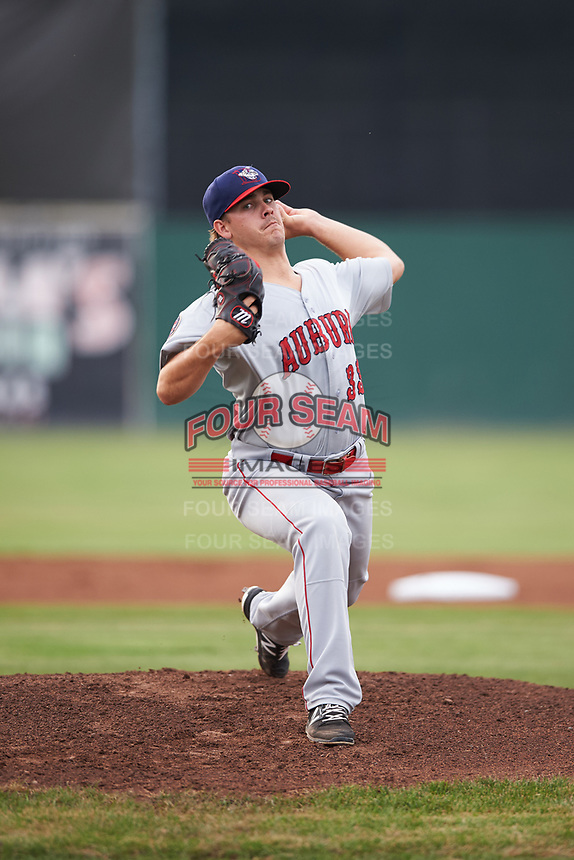 Auburn Doubledays starting pitcher Ben Braymer (33) delivers a warmup pitch during a game against the Batavia Muckdogs on July 6, 2017 at Dwyer Stadium in Batavia, New York.  Auburn defeated Batavia 4-3.  (Mike Janes/Four Seam Images)