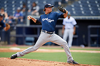 Lakeland Flying Tigers relief pitcher Spenser Watkins (31) delivers a pitch during a game against the Tampa Tarpons on April 8, 2018 at George M. Steinbrenner Field in Tampa, Florida.  Lakeland defeated Tampa 3-1.  (Mike Janes/Four Seam Images)