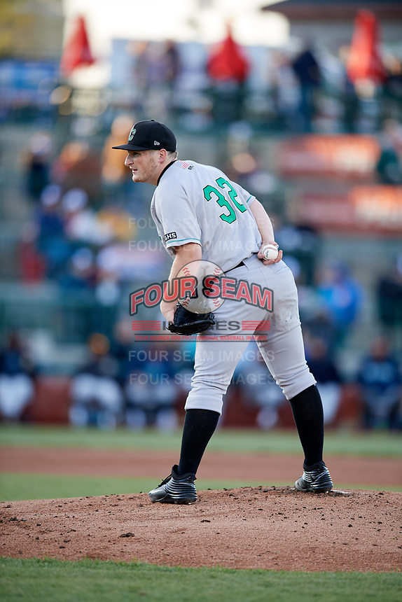 Clinton LumberKings starting pitcher Ljay Newsome (32) looks in for the sign during a game against the South Bend Cubs on May 5, 2017 at Four Winds Field in South Bend, Indiana.  South Bend defeated Clinton 7-6 in nineteen innings.  (Mike Janes/Four Seam Images)