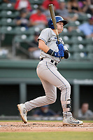 First baseman Danny Edgeworth (16) of the Asheville Tourists bats in a game against the Greenville Drive on Friday, August 23, 2019, at Fluor Field at the West End in Greenville, South Carolina. Greenville won, 11-1. (Tom Priddy/Four Seam Images)