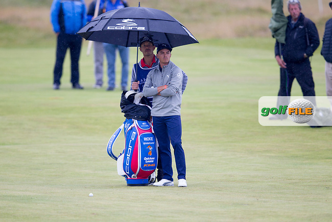 Rickie Fowler (USA) on the 18th during round 2 of the Aberdeen Asset Management Scottish Open 2017, Dundonald Links, Troon, Ayrshire, Scotland. 14/07/2017.<br /> Picture Fran Caffrey / Golffile.ie<br /> <br /> All photo usage must carry mandatory copyright credit (&copy; Golffile | Fran Caffrey)