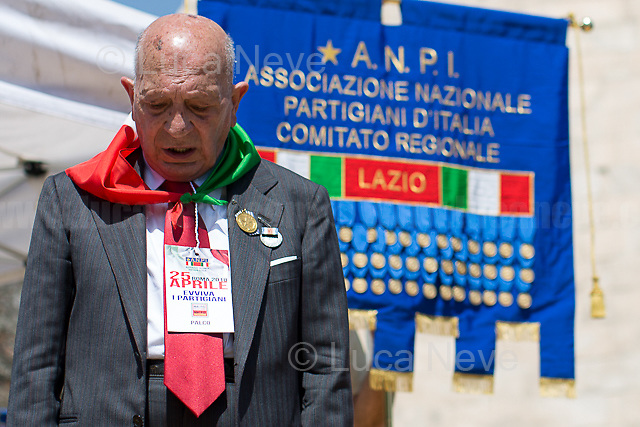 """Antifascist Partizan. Member of the Partigiani: the Italian Resistance during WWII.<br /> <br /> Rome, 25/04/2018. Today, to mark the 73rd Anniversary of the Italian Liberation from nazi-fascism ('Liberazione'), ANED Roma & ANPI Roma (National Association of Italian Partizans) held a march ('Corteo') from Garbatella to Piazzale Ostiense where a rally took place attended by Partizans, Veterans and politicians – including the Mayor of Rome and the President of Lazio's Region. FOR THE FULL CAPTIONS PLEASE CHECK """"Photo Stories - 2010 to Today"""" 25.04.2018."""