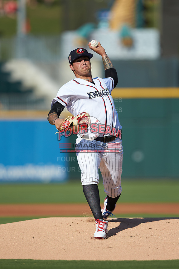 Charlotte Knights starting pitcher Jordan Guerrero (36) in action against the Durham Bulls at BB&T BallPark on July 4, 2018 in Charlotte, North Carolina. The Knights defeated the Bulls 4-2.  (Brian Westerholt/Four Seam Images)