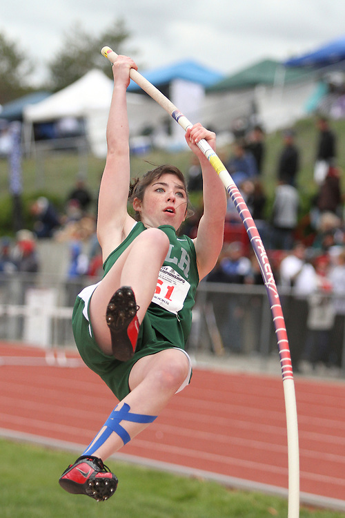 Photograph from the WIAA State Championships at Eastern Washington University in Cheney, Washington, during the 2010 Mt. Rainier Lutheran High School track and field season (pole vault photo sequence, 4 of 14).
