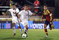 Spain's Thiago and Norway's Singh (l), Elabdellaoui during an International sub21 match. March 21, 2013.(ALTERPHOTOS/Alconada) /NortePhoto