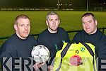 Killarney Celtic memntors who are preparing to play League of Ireland champions Shamrock Rovers in Killarney next Tuesday evening Karl McMahon Coach,Brian Spillane Captain and Assistant coach John O'Donoghue .